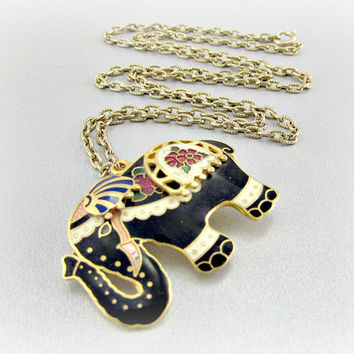 Vintage Elephant Pendant Necklace, Black Cloisonne Enamel Elephant Brooch Pin, Gold Chain Necklace, 1980s Retro Animal Figural Jewelry