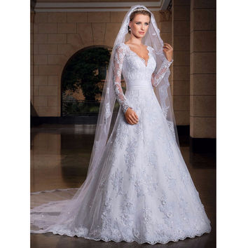 Long Sleeve Romantic Lace A Line Wedding Dresses V Neck With Veil Robe