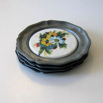Vintage Pewter Coasters, Housewares, Set of 4, retro collectible, Floral Tile