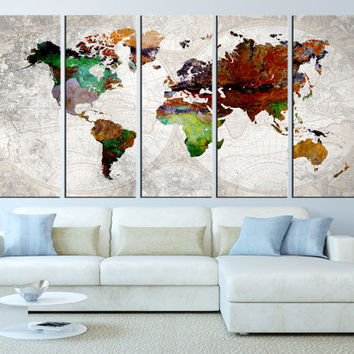 world map wall art canvas print, old world map canvas art, large canvas print, extra large wall art, vintage world map wall decor t218