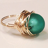 Mermaid ring aquamarine green frosted sea glass like bead wrapped in bright gold wire any size made to order