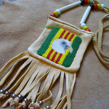 Native American Style loom beaded Vietnam Veterans Eagle Amulet bag/Medicine bag