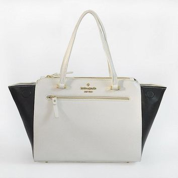 New Kate Spade Women Fashion Shopping Leather Tote Handbag Shoulder Bag Color Black White