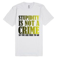 Crime-Unisex White T-Shirt