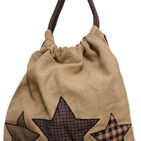 Vintage Farmhouse Star Tote. Vintage Burlap Bag.