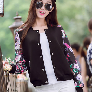 Long Sleeve Floral Print Front Button Jacket