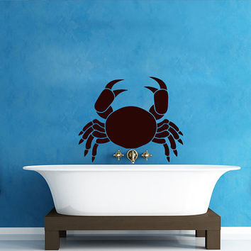 Wall Decals Crab Decal Vinyl Sticker Bathroom Window Nursery Children Bedroom Hall Home Decor Dorm Interior Art Murals MN513