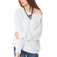 Gray speckled sweater in soft touch fabric