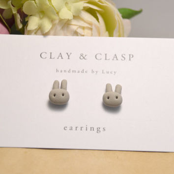 Easter earrings, bunny earring studs - beautiful handmade polymer clay jewellery by Clay & Clasp