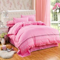 Free shipping 6 colors Princess style Bedding Sets bed linen for children King size  Quilt Duvet Cover Pillow