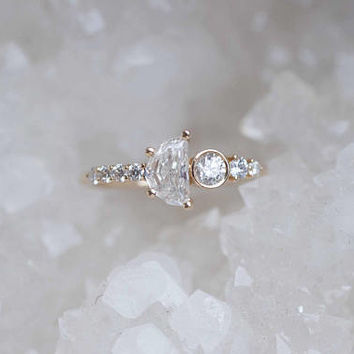 Half Moon Diamond Cluster Engagement Ring | 14k Recycled Gold