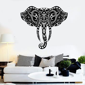 Vinyl Wall Decal Elephant Head Animal Ornament Stickers Mural Unique Gift (ig4036)
