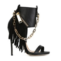 Cool Chain Fringed Gladiator Pumps