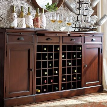 MODULAR BAR BUFFET WITH 2 WINE BASES & 2 CABINETS