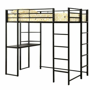 Trinidad collection black finish metal frame twin loft bed with desk underneath