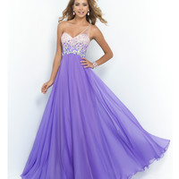 Violet Beaded Ombre One Shoulder Open Back Chiffon Gown