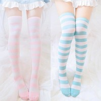 Japanese Harajuku Pink/Blue Stripes Knee Socks Tights SD02385