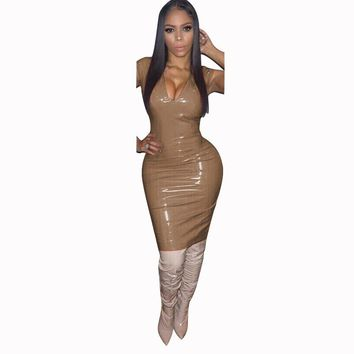 Plunging Wet Look Party Dress