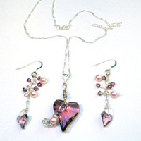 Antique Pink Swarovski Heart Sterling Silver Necklace by lindab142
