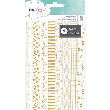 Dear Lizzy Gold Foil on White Washi Strips; Documentary Collection, 32 Pieces - For Scrapbooks, Journals and More