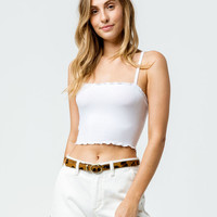BOZZOLO Lettuce Edge Square Neck White Womens Crop Tank Top