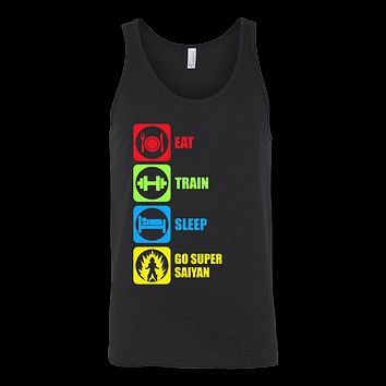 Super Saiyan - Eat, Train, Sleep, Go Super Saiyan 2 - Unisex Tank Top T Shirt - TL01214TT