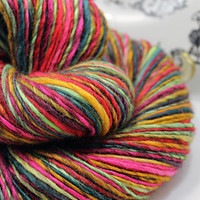 Handspun Yarn Gently Thick and Thin DK Single Mixed Blue Faced Leicester 'Zinnias'