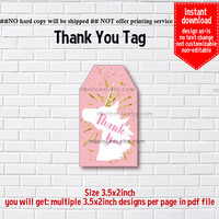 Instant Download, #1066  pink unicorn, little girl Party, Thank you TAG, 3.5x2inch printable, non-editable NOT CUSTOMIZABLE