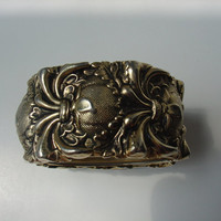Vintage Embossed Brass Cuff Bracelet, Unsigned