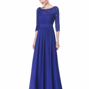 Sexy Long Evening Dresses Gown Ever Pretty  EP08412 New Arrival Summer Women Dress Lace 2017 Special Occasion Dresses