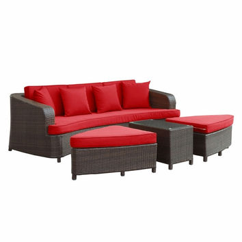 Monterey 4 Piece Outdoor Patio Sofa Set Brown Red