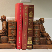 Pirate Bookends, Set of Pirate and Booty Vintage Book End Pair FREE US Shipping