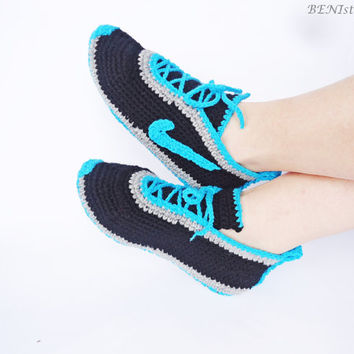 Crochet Men's Shoes, Nike Shoes, Nike Sneakers, Crochet Men Sneakers, Inspired Tennis Shoes, Warm Slippers, Home Shoes, Blue Men Shoes