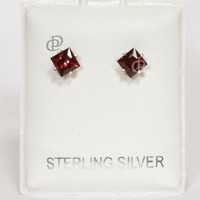 Garnet Square Cut Stud Earrings Sterling Silver Setting Posts