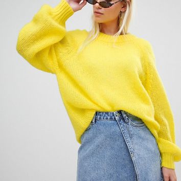 Weekday Balloon Sleeve Open Weave Knit Jumper at asos.com