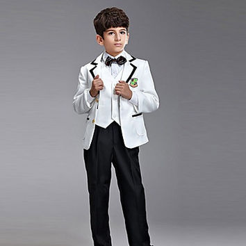 Seven Pieces Ring Bearer Suit Tuxedo With Two Bow Ties(More Colors)