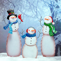 Snow Family Yard Stake Snowman Figure Christmas Holiday Art Garden Home Decor
