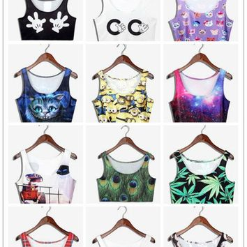 New Sexy Crop Tops Women's Bodycon 3D printed Tank Tops Slim Stretch Beach Tank Tops 20 Colors Galaxy Harajuku Tops