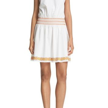 Tory Burch 'Bridget' Embroidered Cotton Shift Dress | Nordstrom