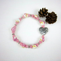 Silver Heart Charm Pink Glass Stretch Bracelet Stacking Valentines Day Cottage Chic Boho Jewelry