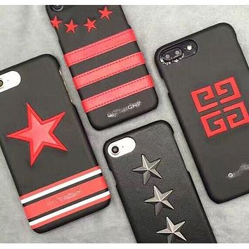 LMFIH3 GIVENCHY Real leather stereoscopic embroidery phone case shell  for iphone 6/6s,iphone 6p/ 6splus,iphone 7, iphone7plus