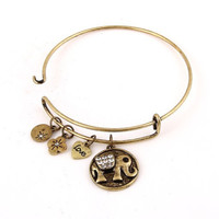 Bangle Charm Bracelet - Elephant - Antique Gold or Silver