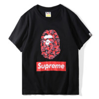 Supreme & Bape Aape New fashion letter camouflage print couple top t-shirt Black