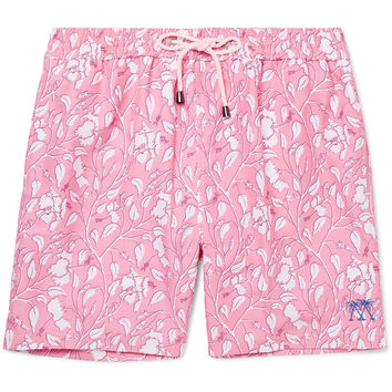 Pink House Mustique - Mid-Length Hibiscus-Print Swim Shorts
