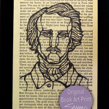 """Edgar Allan Poe art portrait printed on an actual page from """"The Murders in the Rue Morgue"""" - every print is an original"""