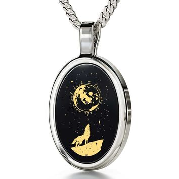 """Necklace -""""I Love You to the Moon and Back"""", 925 Sterling Silver Necklace, Onyx - Free Shipping"""