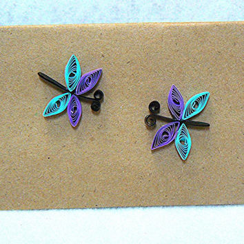 Hand Quilled Mini Kraft Notecards, Dragonflies, Set of 3 With Envelopes, Cards, Paper Goods