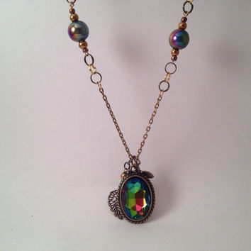 Long lariat bronze necklace with multicolor gem pendant and leaves