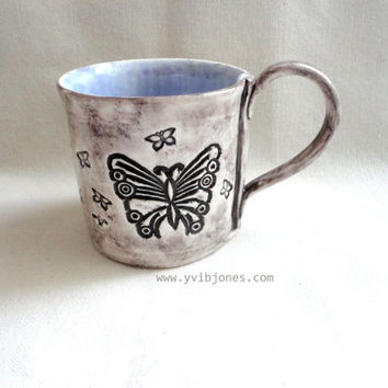 Violet Butterfly Ceramic Mug, Large Coffee Cup, Tea Cup, Rustic style, hand crafted, hand built