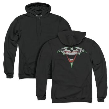 Batman Full Zip Hoodie Joker Bat Logo Black Hoody Back Print